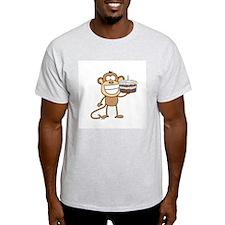 Birthday Cake Monkey Ash Grey T-Shirt