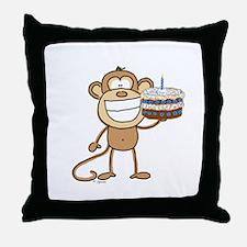 Birthday Cake Monkey Throw Pillow