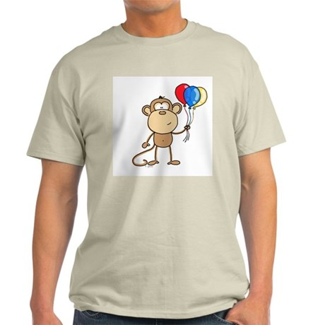 Monkey with Balloons Ash Grey T-Shirt