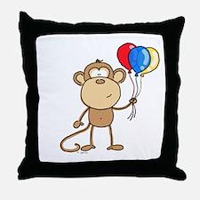 Monkey with Balloons Throw Pillow