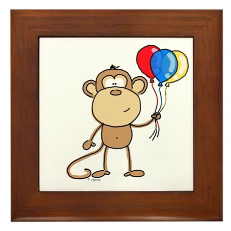 Monkey with Balloons Framed Tile