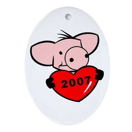 """2007 - Pig Love"" Oval Ornament"