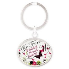 air force wife butterfly pink Oval Keychain