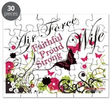 air force wife butterfly pink Puzzle