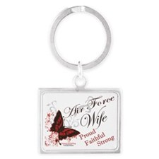 air force wife butterfly red Landscape Keychain