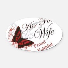 air force wife butterfly red Oval Car Magnet