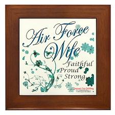air force wife flowers blue Framed Tile
