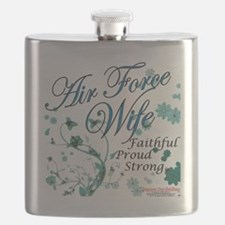 air force wife flowers blue Flask