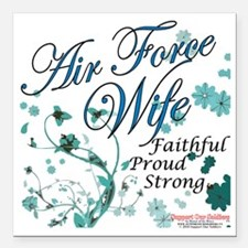 """air force wife flowers b Square Car Magnet 3"""" x 3"""""""