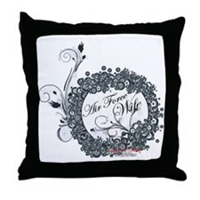 air force wife flowers black Throw Pillow