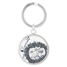 air force wife flowers black Round Keychain
