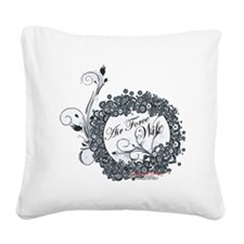 air force wife flowers black Square Canvas Pillow