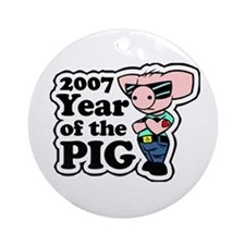 """2007 - Cool Pig"" Ornament (Round)"