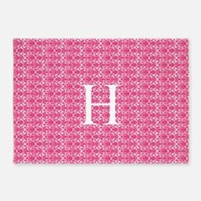 Pink White Damask Monogram 5'X7'area Rug