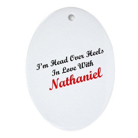 In Love with Nathaniel Oval Ornament