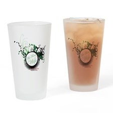 air force wife flowers green black Drinking Glass