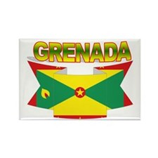 Grenada Flag Ribbon Rectangle Magnet (10 pack)
