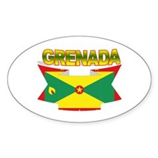 Grenada Flag Ribbon Oval Decal