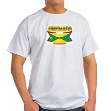 Grenada Flag Ribbon Ash Grey T-Shirt