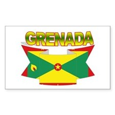 Grenada Flag Ribbon Rectangle Decal
