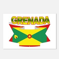 Grenada Flag Ribbon Postcards (Package of 8)