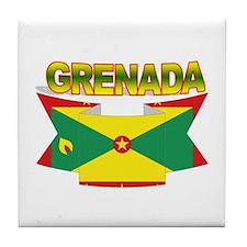 Grenada Flag Ribbon Tile Coaster