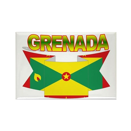 Grenada Flag Ribbon Rectangle Magnet