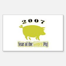 """2007 - Golden Pig"" Rectangle Decal"