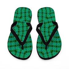 kaleido art green boxes Flip Flops