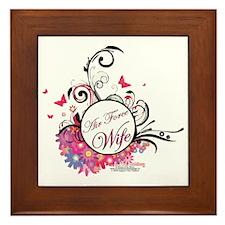 air force wife flowers pink black 3 Framed Tile