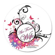 air force wife flowers pink black Round Car Magnet