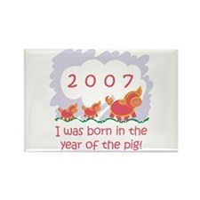 """2007 - Baby Pigs"" Rectangle Magnet"