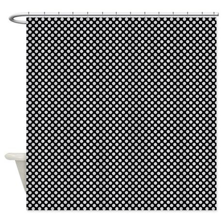 Grey On Black Polka Dots Shower Curtain By CoolPatterns