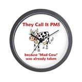 Funny mad cow Wall Clocks