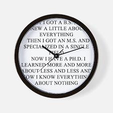 funny phd doctorate joke gifts t-shirts Wall Clock