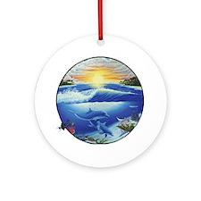 3-dolphans-copy Round Ornament