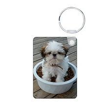 Shih Tzu Puppy in Bowl Keychains