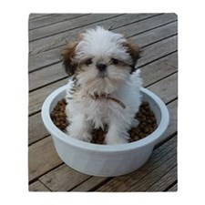 Shih Tzu Puppy in Bowl Throw Blanket