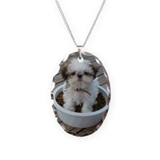 Shih Tzu Puppy in Bowl Necklace