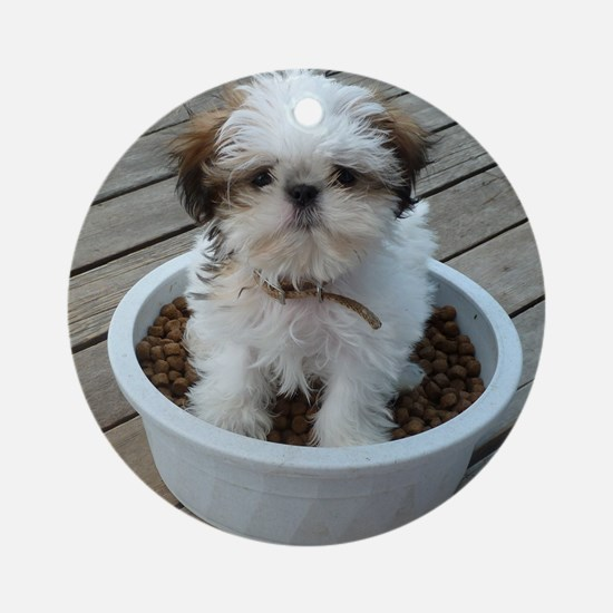 Shih Tzu Puppy in Bowl Round Ornament