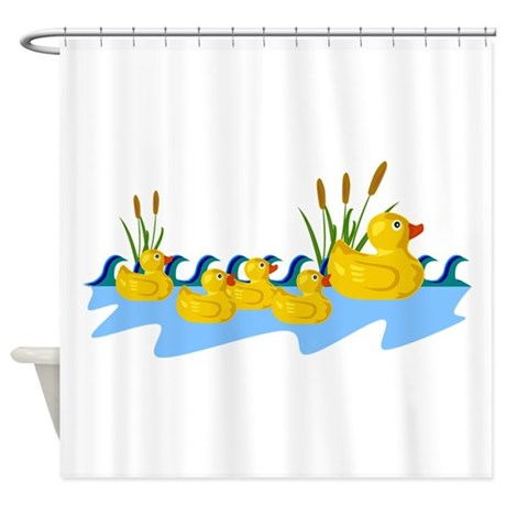 Rubber Duck Family Shower Curtain By Animallovergifts