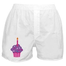 purple cupcake with candle Boxer Shorts