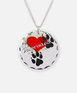 Imprinted wolf prints paw ef Necklace