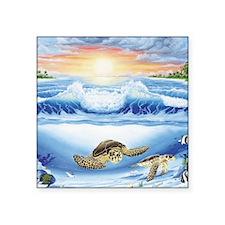 "3-turtles world square Square Sticker 3"" x 3"""