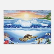 turtles world large 5'x7'Area Rug