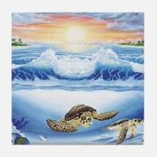turtles world large Tile Coaster