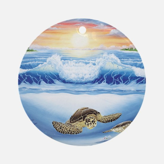 turtles world large Round Ornament