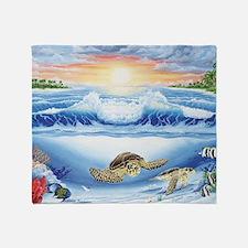 turtles world large Throw Blanket