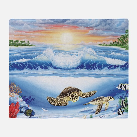 turtles world large Throw Blanket