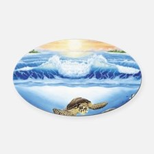 turtles world large Oval Car Magnet